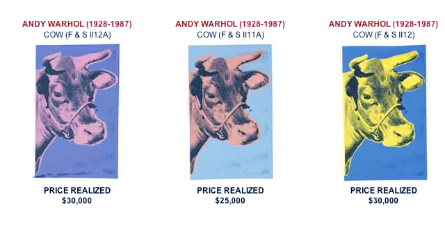 Andy Warhol Cows sold at Christie's